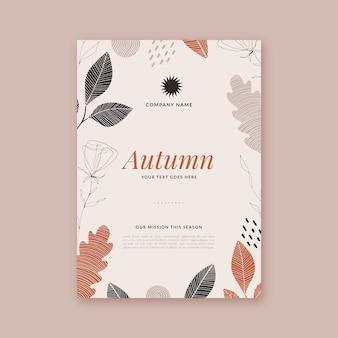 Modèle de flyer vertical automne dessiné à la main