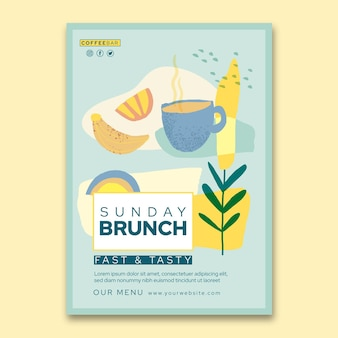 Modèle de flyer vertical brunch
