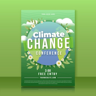 Modèle de flyer vertical sur le changement climatique dégradé