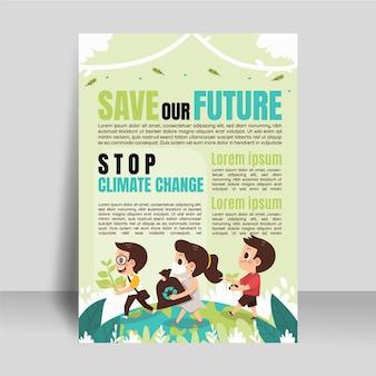 Modèle de flyer vertical sur le changement climatique plat dessiné à la main