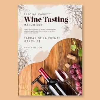 Modèle de flyer vertical de dégustation de vin