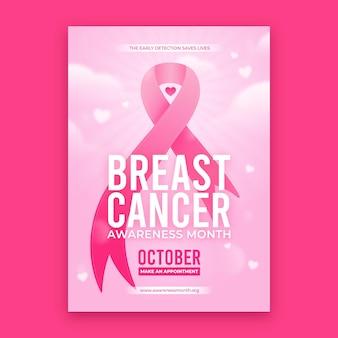 Modèle de flyer vertical du mois de sensibilisation au cancer du sein dégradé