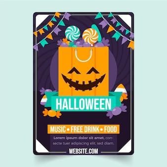 Modèle de flyer vertical fête halloween plat