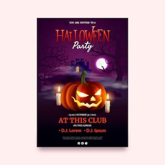 Modèle de flyer vertical de fête d'halloween réaliste