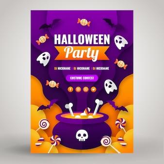 Modèle de flyer vertical de fête d'halloween de style papier