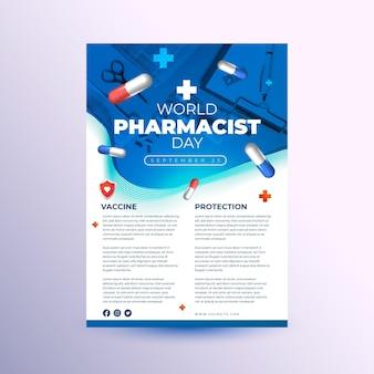 Modèle de flyer vertical de jour de pharmacien réaliste