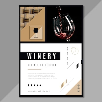 Modèle de flyer vertical de marque de vin