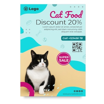 Modèle de flyer vertical de nourriture pour chat