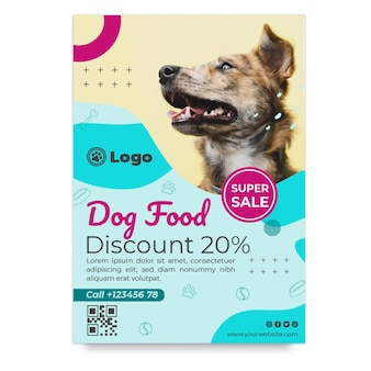 Modèle de flyer vertical de nourriture pour chien