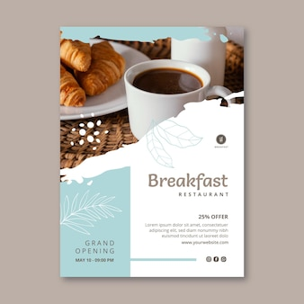 Modèle de flyer vertical de petit-déjeuner