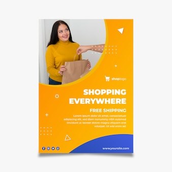 Modèle de flyer vertical pour les achats en ligne