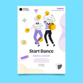 Modèle de flyer vertical pour les cours de danse