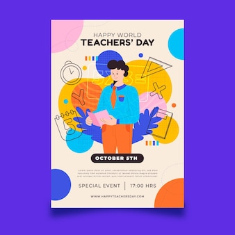 Modèle de flyer vertical pour la journée des enseignants plats dessinés à la main
