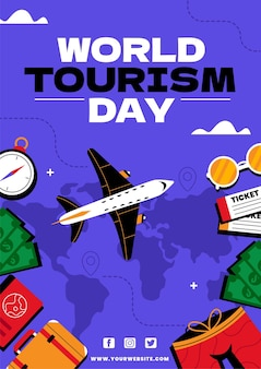 Modèle de flyer vertical pour la journée mondiale du tourisme
