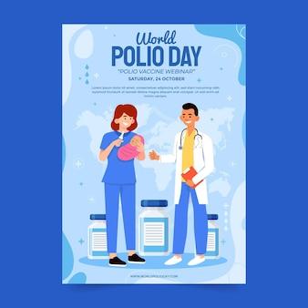 Modèle de flyer vertical pour la journée mondiale de la polio dessinée à la main