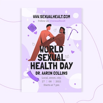 Modèle de flyer vertical pour la journée mondiale de la santé sexuelle dessiné à la main