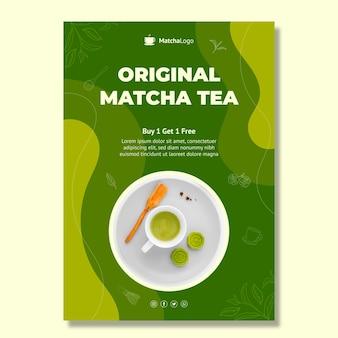 Modèle de flyer vertical de thé matcha