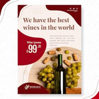 Modèle de flyer vertical de vin