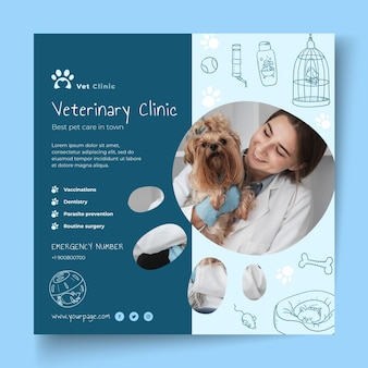 Modèle de flyer vétérinaire avec photo