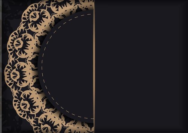 Modèle de flyer de voeux en couleur noire avec ornement indien marron