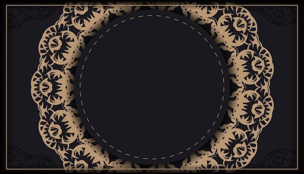Modèle de flyer de voeux en noir avec motif indien marron
