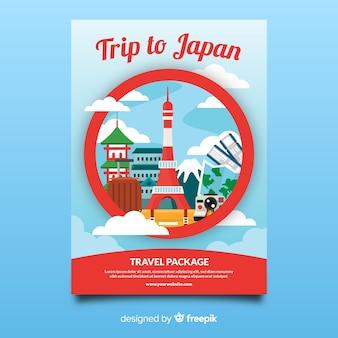 Modèle de flyer de voyage au japon