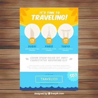 Modèle de flyer de voyage avec un design plat