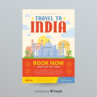 Modèle de flyer de voyage en inde