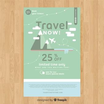Modèle de flyer de voyage montagnes plates