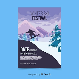 Modèle de flyer de voyage de ski