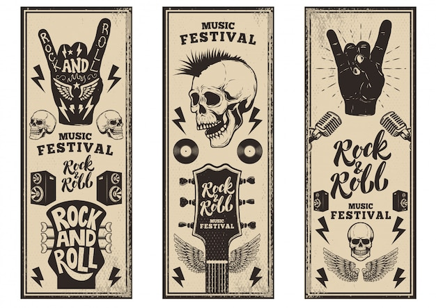 Modèle de flyers de fête rock and roll. guitares vintage, crâne punk, rock and roll signe sur fond grunge. illustration