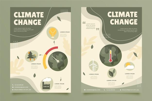 Modèle de flyers verticaux sur le changement climatique à plat dessinés à la main