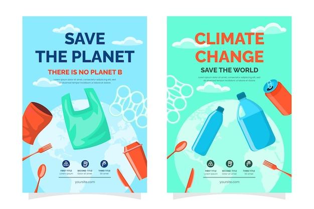 Modèle de flyers verticaux plats sur le changement climatique