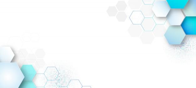 Modèle de fond abstrait présentation scientifique et technologique, forme hexagonale avec couleur bleue et douce.