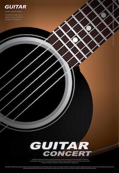 Modèle de fond d'affiche de concert de guitare