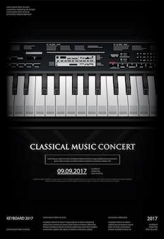 Modèle de fond d'affiche de piano à queue de musique