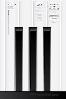 Modèle de fond d'affiche pour piano à queue de musique