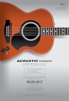 Modèle de fond d'affiches de concert de guitare acoustique