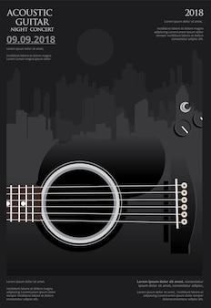 Modèle de fond d'affiches de concert de guitare