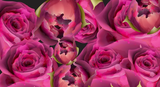 Modèle de fond aquarelle de roses roses