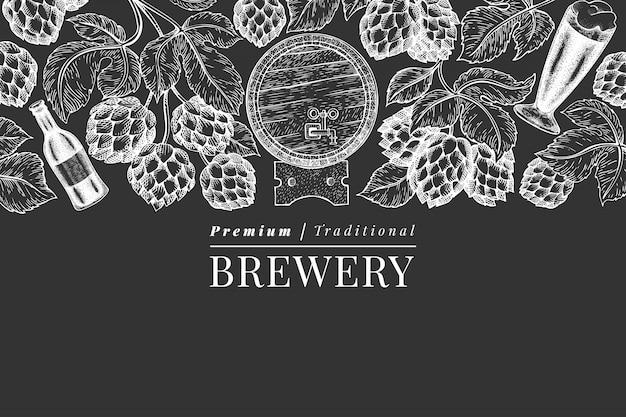 Modèle de fond de bière et de houblon