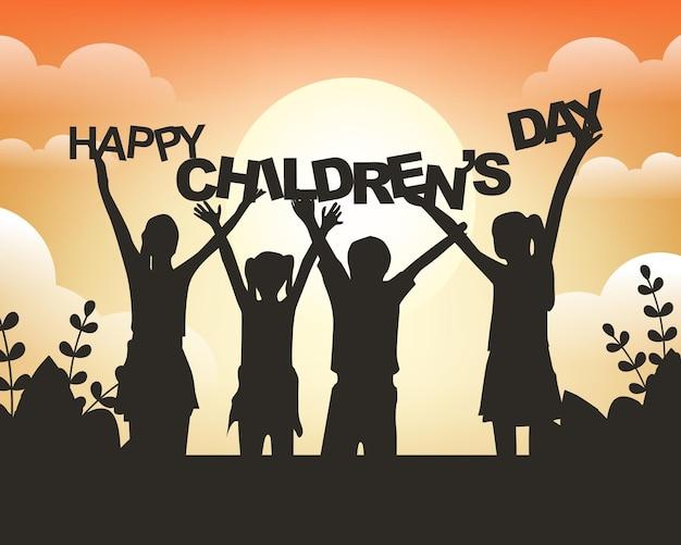 Modèle de fond de bonne fête des enfants