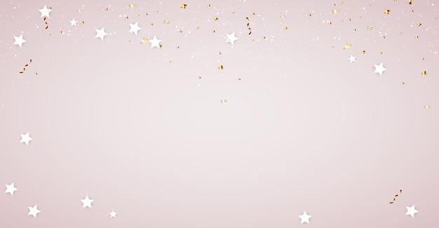 Modèle de fond brillant avec des confettis et des étoiles