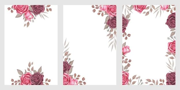 Modèle de fond avec cadre floral aquarelle orné