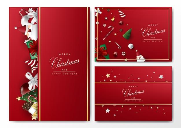 Modèle De Fond De Carte De Noël Sertie D'objets Vecteur Premium