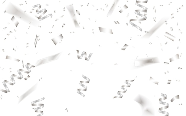 Modèle de fond de célébration avec des confettis argentés.
