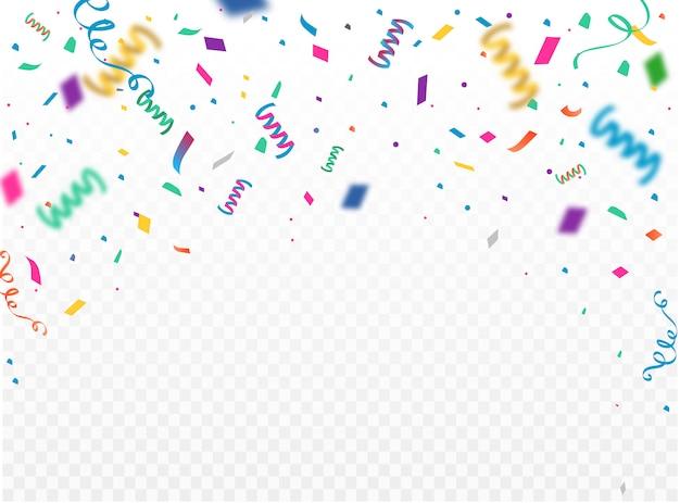Modèle de fond de célébration avec konfetti et rubans colorés. illustration