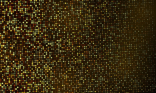 Modèle de fond de célébration de paillettes avec des confettis et des rubans d'or. carte riche de voeux de luxe.