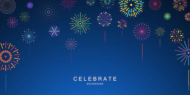 Modèle de fond de célébration avec des rubans de feux d'artifice. carte de voeux de luxe riche.