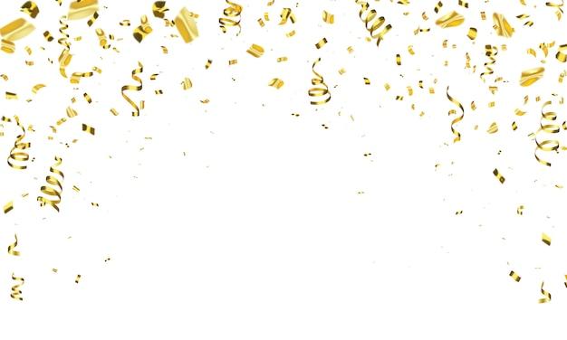 Modèle de fond de célébration avec des rubans d'or confettis. carte riche de voeux de luxe.